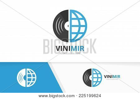 Vector vinyl and planet logo combination. Record and world symbol or icon. Unique music album and globe logotype design template.