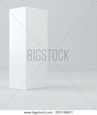 Realistic white box, cube, podium or blank pedestal. White platform. 3d illustration