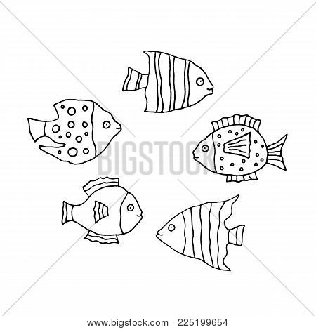 Linear cartoon hand drawn fish set. Cute vector black and white fish set. Isolated monochrome doodle fish set on white background.