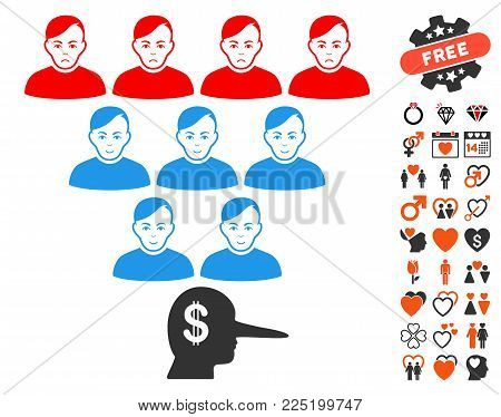 Ponzi Pyramid Manager icon with bonus romantic clip art. Vector illustration style is flat iconic symbols.
