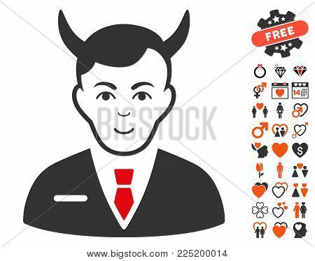 Satan pictograph with bonus love pictograms. Vector illustration style is flat iconic symbols.