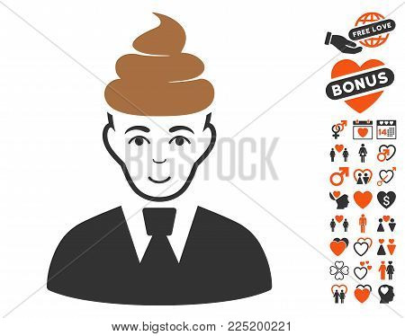 Shit Guy icon with bonus love pictograph collection. Vector illustration style is flat iconic symbols.