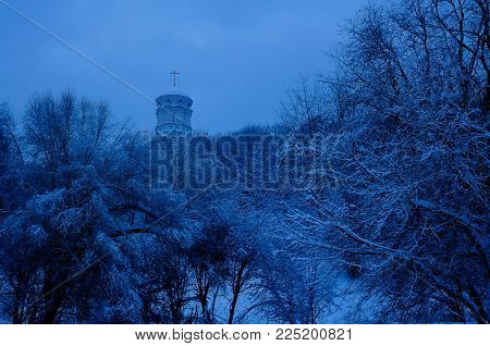 Winter view to Church of John the Baptist in Dyakovo after snowfall in Kolomenskoye, Moscow, Russia