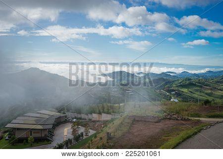 Phetchabun Province, Thailand - September 3, 2017: Top View To See Mountain And Wat Pha Sorn Kaew Te