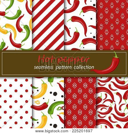 Eight seamless fabrics for forwarding mask. Chili peppers seamless pattern. Beautiful bright red pepper on white background stock vector.