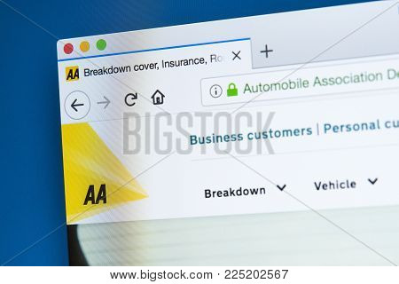 London, Uk - January 4th 2018: The Homepage Of The Official Website For The Automobile Association,
