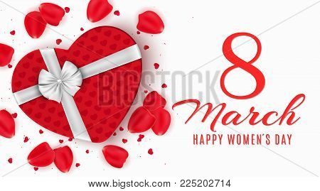 Greeting card for 8 March. Red gift box of heart on happy womens day. Light white background. Rose petals and confetti. Banner on March 8. Vector illustration. EPS 10