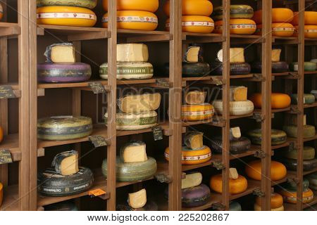 KYIV, UKRAINE - NOVEMBER 15, 2017: Variety of different cheeses in