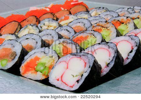 Sushi Japanese Rice Are Arranged