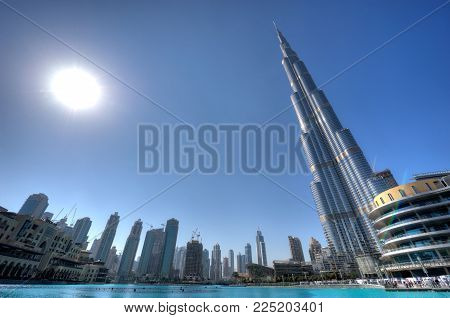 DUBAI, UNITED ARAB EMIRATES - JAN 02, 2018: The Burj Khalifa in the center of Dubai is the tallest building in the world with 828 meters high. HDR photo.
