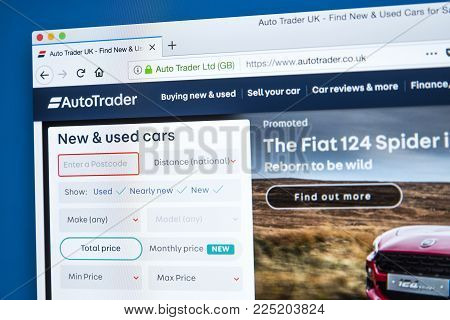 LONDON, UK - JANUARY 4TH 2018: The homepage of the official website for Auto Trader - the automotive classified advertising business, on 4th January 2018.