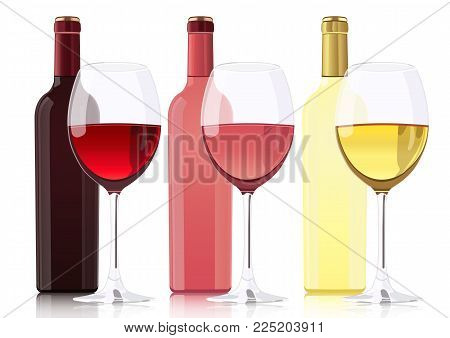 Set of bottles of different types of wines. Bottle of red wine, bottle of rose wine, bottle of white wine and glass goblets with wines. Vector realistic drawing, isolated on white