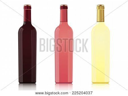Set of bottles of different types of wines without labels, vector realistic drawing. Bottle of red wine, bottle of rose wine, bottle of white wine, isolated on white