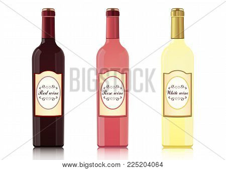 Set of bottles of different types of wines with labels, vector realistic drawing. Bottle of red wine, bottle of rose wine, bottle of white wine, isolated on white