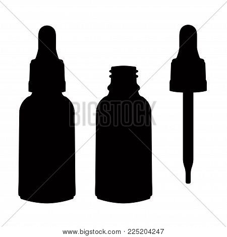 Glass bottle with a pipette, vector icon, logo, sign, emblem, silhouette isolated on white