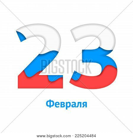 Vector illustration. On 23 February. Fatherland defender day. The Russian flag, white, blue, red Paper art carving
