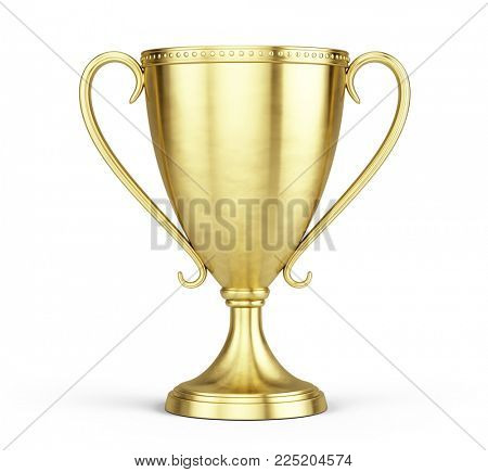 Gold trophy cup isolated on a white background. 3d rendering
