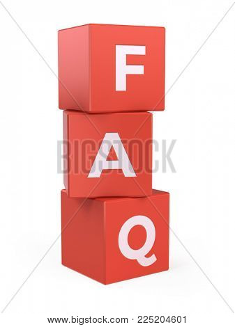 frequently asked questions concept - faq cubes isolated on white - 3d rendering