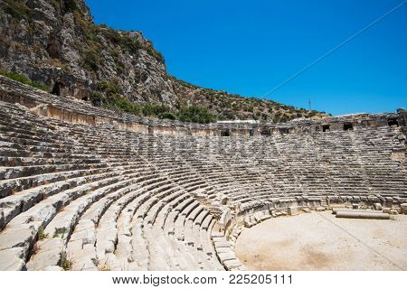 Photo of ancient theatre in Myra ancient city of Antalya in Turkey.