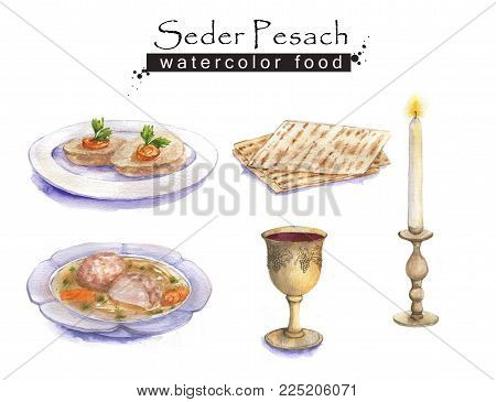 Hand Drawn Watercolor Set Of Holiday Jewish Food. Seder Pesach Dishes: Gefilte Fish, Matzah, Wine, M