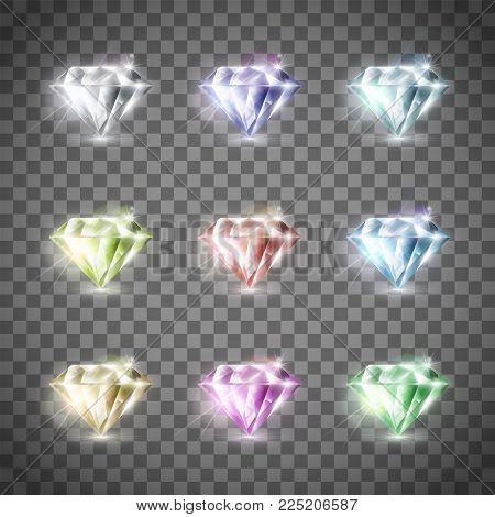 Set Of Precious Multi-colored Diamonds. Isolated On A Transparent Background. Stock Vector Illustrat