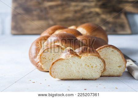 Homemade challah bread, selective focus. Traditional bread