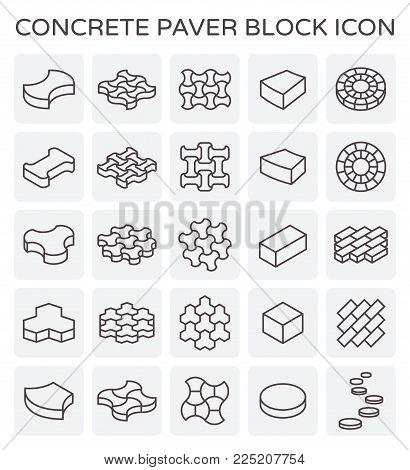 Concrete paver block floor icon set on white.