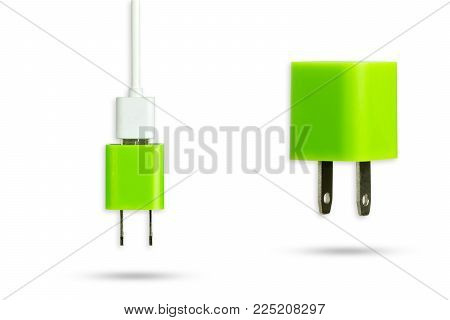 Green power adapter charger and white usb cable on isolate white background with clipping path.