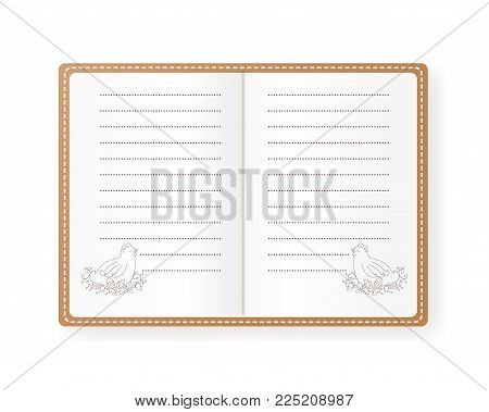 Vector illustration of notebook with hen with eggs. Empty lined paper. The beige cover