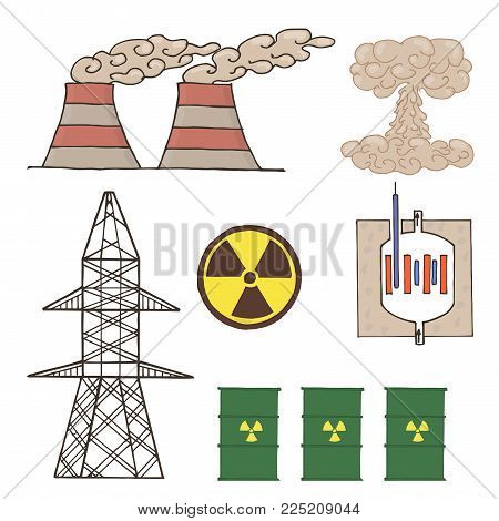 set of icons nuclear energy. Nuclear energy vector. Development of nuclear energy.