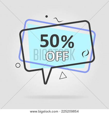 Special offer sale geometric tag blue. Discount offer price label, symbol for advertising campaign in retail, sale promo marketing, ad offer on shopping day