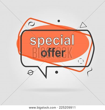 Special offer sale geometric tag orange. Discount offer price label, symbol for advertising campaign in retail, sale promo marketing, ad offer on shopping day
