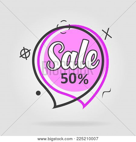 Special offer sale geometric tag purple. Discount offer price label, symbol for advertising campaign in retail, sale promo marketing, ad offer on shopping day