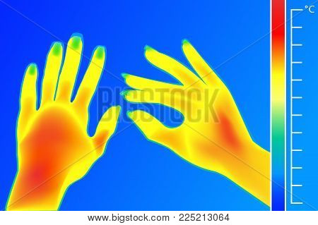 Thermal imager Human hands vector illustration. The image of a female arms using Thermographic camera. Scale is degrees Fahrenheit. Electromagnetic spectrum and infrared energy.