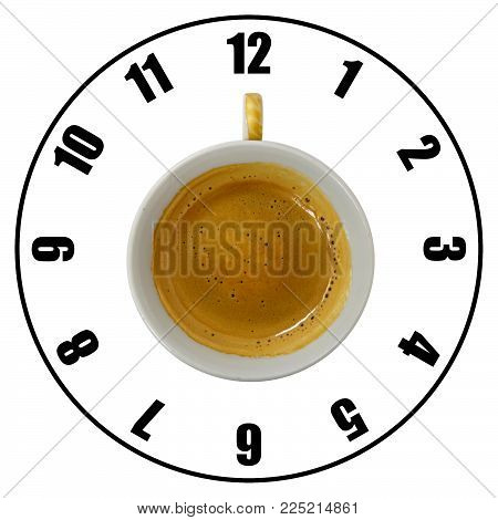Coffee cup isolated on white background forming clock dial top view. Coffee time concept