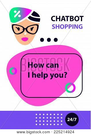Logo intelligence technology. Voice shopping service chat bot, virtual online help customer support. Graphic design trend modern banner. Concept robot chatbot. Sketch head avatar.