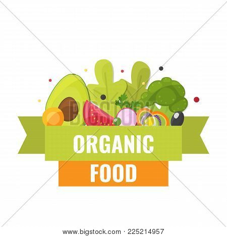 Organic food banner with broccoli, avocado, tomato and other vegetables. Natural farm vegetables. Healthy eating concept. Vector illustration.