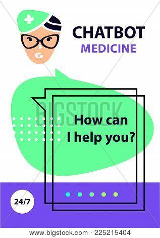 Logo intelligence medicine technology. Chat bot. Concept robot chatbot. Sketch head avatar.