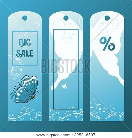 Paper label for sale with blue butterfly in the sky. Tag for sales vector illustration. Price reduction.