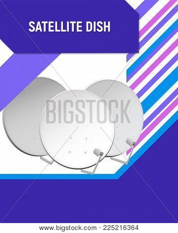 Television aerial design template. Satellite television dish vector illustration.