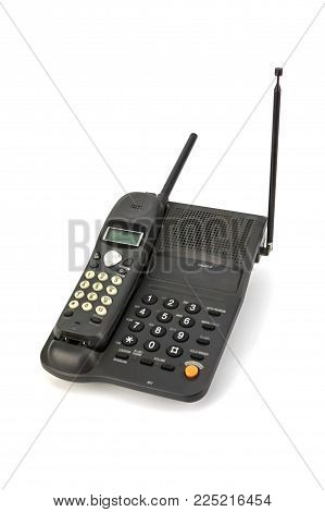 Black Cordless Telephone Isolated On White Background, Home Appliances.
