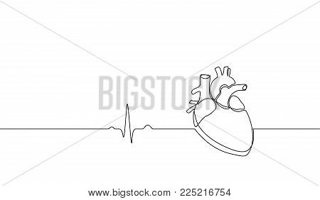 Single continuous line art anatomical human heart silhouette. Healthy medicine concept design one sketch outline drawing vector illustration art