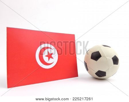 Tunisian flag with football ball isloated on white background