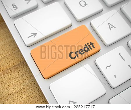 Inscription on Keyboard Enter Keypad, for Credit Concept. White Keyboard Button Showing the InscriptionCredit. Message on Keyboard Orange Button. 3D Render.