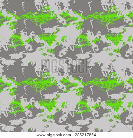 Neon green and gray UFO camouflage is a bright seamless pattern. Can be used as a camo print for clothing and background and backdrop or computer wallpaper