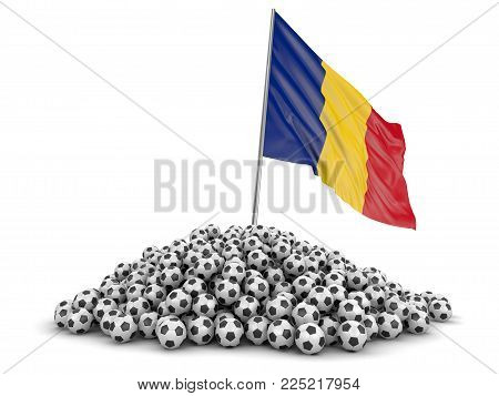 3d Illustration. Soccer Football With Romanian Flag