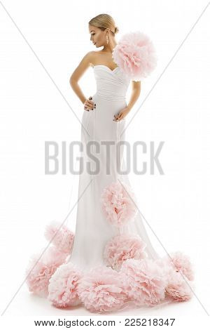 Fashion Model Long Dress with Art Flowers, Elegant Woman White Beauty Gown, Lady Posing on White Background