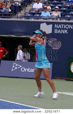 TORONTO: AUGUST 11. Halep plays against Kuznetsova in the Rogers Cup 2011 on August 11, 2011 in Toronto, Canada.