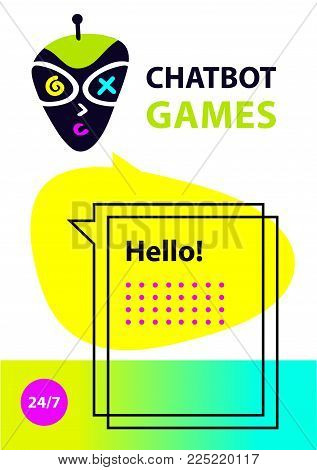 Concept banner with head robot chatbot.  Sketch avatar for intelligence technology. Virtual online game customer support. Voice service chat bot.  Vector illustration.