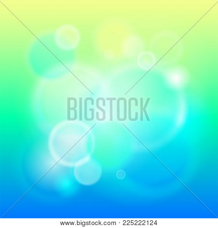 Abstract modern lights background defocused and gradient texture. Green nature blurred backdrop. Vivid design element. Flare and bokeh effects. Vector illustration. EPS 10